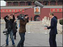 Stephen records the programme introduction at Tiananmen Square