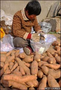Niño chino vendiendo camotes en un mercado de Pekín.