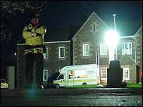 Jersey Police officer outside Haute de la Garenne