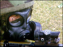 A British soldier wearing nuclear, biological and chemical weapons protection