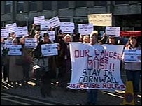 Cancer protest in Truro