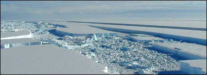 Wilkins Ice Shelf from Twin Otter (Image: British Antarctic Survey)