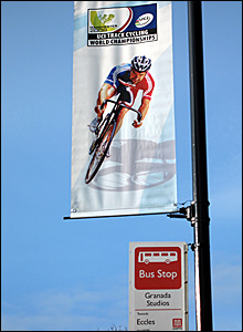A promotional banner for the Track Cycling World Championships in Manchester