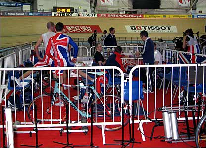 The British riders in a teamtalk