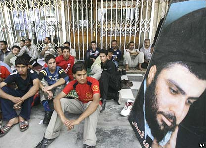 Followers of Moqtada Sadr stage a sit-in protest in the mainly Shia neighbourhood of Amil in Baghdad (25/03/08)