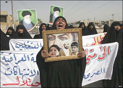 A Shia woman at a protest rally in Dora, Baghdad (25/03/08)