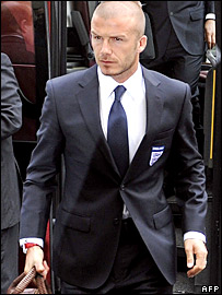 David Beckham arrives in Paris ahead of the friendly with France