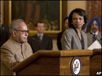 "Secretary of State Condoleezza Rice and India""s External Affairs Minister Pranab Mukherjee (left)"