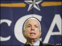 John McCain speaks at an event in Orange County, California, 25 Mar 2008