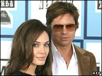 Actors Angelina Jolie and Brad Pitt arrive at the 2008 Spirit Awards in Santa Monica