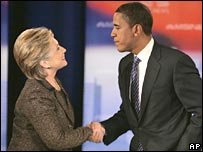 Hillary Clinton and Barack Obama after a debate
