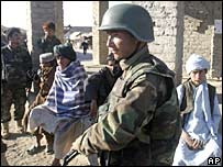 An Afghan National Army soldier on patrol in Helmand. File photo (15/12/07)