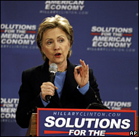 Hillary Clinton speaks at the University of Pittsburgh in Greensburg, Pennsylvania (25 March 2008)