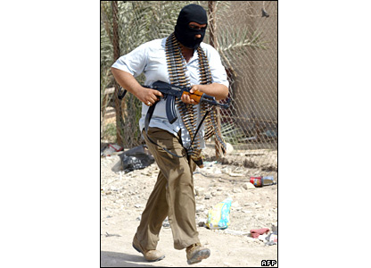 A Mehdi Army fighter in Basra on 26 March 2008