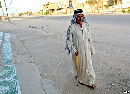 An Iraqi man in a deserted Basra street on 26 March 2008