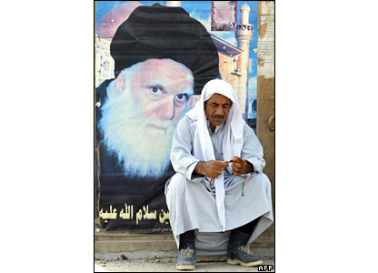 Iraqi man with prayer beads in Baghdad on 26 March 2008