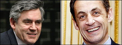 Gordon Brown and Nicholas Sarkozy
