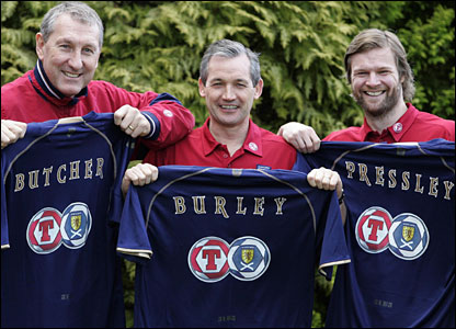 One of Burley's first jobs was to appoint Terry Butcher (left) and Steven Pressley as his assistants