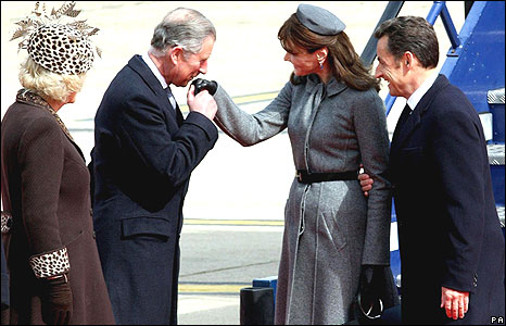 The Prince of Wales and Duchess of Cornwall with President Sarkozy and his wife, Carla Bruni