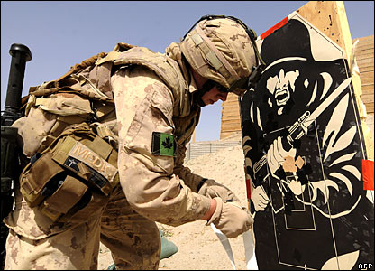 A Canadian soldier in Kandahar, Afghanistan