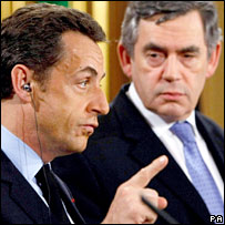 Nicolas Sarkozy and Gordon Brown. Image: PA