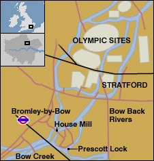 Map showing the Prescott Lock and the new Olympic sites.