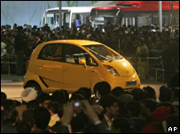 The low-cost Tata Nano at a car show in New Delhi in January