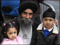 Baljinder Singh and grandchildren Sukjot Singh and Sukleen Kaur