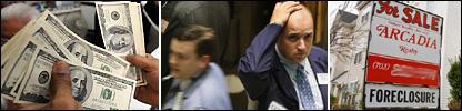 Dólares (AFP), Bolsa de Nueva York (AFP) y casa en venta en Virginia (AFP)