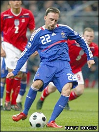 Franck Ribery scores for France from the penalty spot
