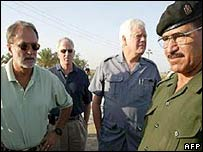 The US congressmen - David Bonior, Mike Thompson and Jim McDermott - with an Iraqi official during the 2002 trip to Iraq.