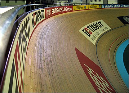 The bank at the southern end of the velodrome