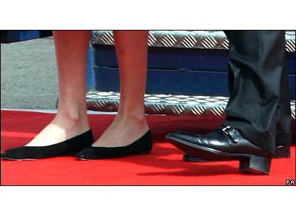 The shoes of Carla Bruni-Sarkozy and her husband Nicholas Sarkozy