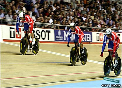 The British sprint team of Ross Edgar, Chris Hoy and Jamie Staff
