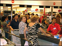 Queues in a Buenos Aire local  supermarket. Picture sent in by Solange Fraley