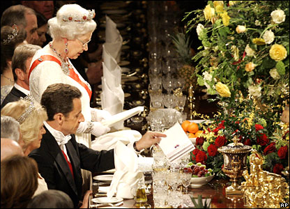The Queen and French President Nicolas Sarkozy at state banquet