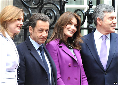 Prime Minister Gordon Brown and his wife Sarah outside Downing Street with French President Nicolas Sarkozy and his wife Carla Bruni-Sarkozy