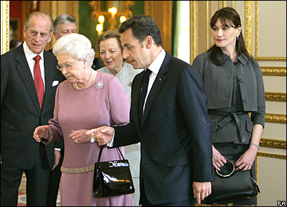 Carla Bruni-Sarkozy with her husband Nicholas Sarkozy, the Queen and Duke of Edinburgh
