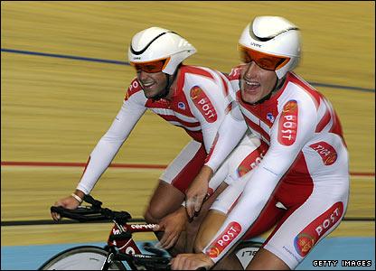 Denmark celebrate reaching the men's team pursuit final
