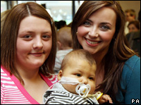 Charlotte Church meeting baby Logan Donegan and his mum Rhian Donegan from Bargoed