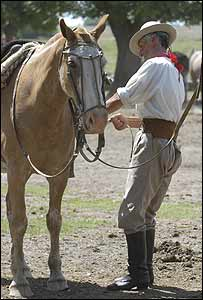 Gaucho with his horse in Argentina, 2004