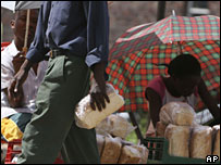 Man buying bread on the black market