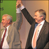 Plaid Cymru leader Ieuan Wyn Jones (right)