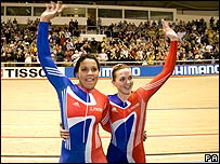 Shanaze Reade and Victoria Pendleton celebrate their win