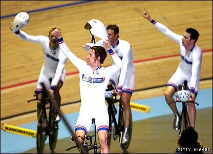 Bradley Wiggins (centre), Edward Clancy, Paul Manning and Geraint Thomas celebrate their team pursuit gold