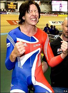 Rebecca Romero celebrates her individua pursuit gold