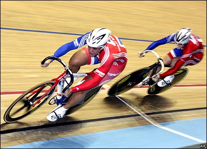 Shanaze Reade and Victoria Pendleton on their way to gold in the team sprint