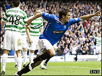 Rangers forward Nacho Novo celebrates a goal against Celtic