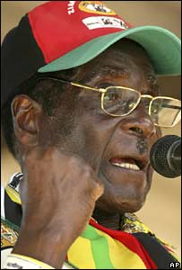 Zimbabwean President Robert Mugabe addresses his supporters at a political rally in Bulawayo