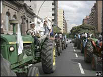 Striking farmers in Cordoba, Argentina. File photo